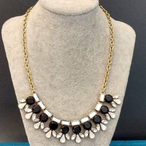 J.Crew black, clear and opal statement necklace